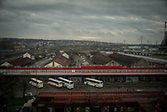 A panoramic view of the old Belgrade train station wearhouses now used by migrant as shelter. Belgrade Serbia. March 19th, 2017. Federico Scoppa
