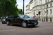 On the first day of his state visit President Trumps car nicknamed the beast drives along Horse Gaurds Road on 3rd June 2019 in London, United Kingdom.