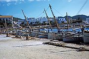 Fishing boats in the harbour at Calvi in late 1950s Corsica, France