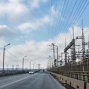 CAPTION: The Volga Hydroelectric Station is the largest hydroelectric station in Europe. It spans the width of the Volga river, and plays host to road and rail links connecting Volgograd with Volzhskiy. LOCATION: Volga Hydroelectric Station, Volgograd Oblast, Russia. INDIVIDUAL(S) PHOTOGRAPHED: N/A.