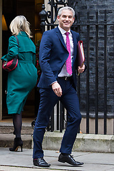London, UK. 18th December, 2018. Stephen Barclay MP, Secretary of State for Exiting the European Union, leaves 10 Downing Street following the final Cabinet meeting before the Christmas recess. Topics discussed were expected to have included preparations for a 'No Deal' Brexit.