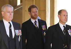 The Duke of Sussex (centre) ahead of the funeral of the Duke of Edinburgh at Windsor Castle, Berkshire. Picture date: Saturday April 17, 2021.