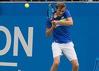 Tennis - 2017 Aegon Championships [Queen's Club Championship] - Day Four, Thursday <br /> <br /> Men's Singles: Round of 16 - Daniil MEDVEDEV (RUS) Vs Thanasi KOKKINAKIS (AUS)<br /> <br /> <br /> Danil Medvedev (RUS) with a backhand return at Queens Club<br /> <br /> COLORSPORT/DANIEL BEARHAM