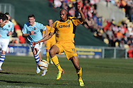 Newport county's Chris Zebroski makes a break. Skybet football league two match, Newport county v Exeter city at Rodney Parade in Newport, South Wales on Sunday 16th March 2014.<br /> pic by Andrew Orchard, Andrew Orchard sports photography.