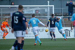 Forfar Athletic's Dale Hilson (7) scoring their first half goal. half time : Forfar Athletic 1 v 2 Raith Rovers, Scottish Football League Division One played 27/10/2018 at Forfar Athletic's home ground, Station Park, Forfar.