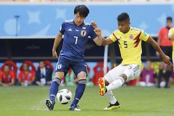 Colombia's Wilmar Barrios battles Japan's Gaku Shibasaki during the 2018 FIFA World Cup Russia game, Colombia vs Japan in Saransk Stadium, Saransk, Russia on June 19, 2018. Japan won 2-1. Photo by Henri Szwarc/ABACAPRESS.COM