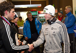 Third placed Gasper Berlot and second placed Marjan Jelenko at medal ceremony after the cross country race for Slovenian National Nordic combined Championship, on January 5, 2011 at Rudno polje, Pokljuka, Slovenia. (Photo by Vid Ponikvar / Sportida.com)