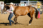 16 JULY 2020 - BOONE, IOWA: SHAYLA TIMM with her horse in the show ring on the first day of the Boone County Fair in Boone. Summer is county fair season in Iowa. Most of Iowa's 99 counties host their county fairs before the Iowa State Fair. In 2020, because of the COVID-19 (Coronavirus) pandemic, many county fairs were cancelled, and most of the other county fairs were scaled back to concentrate on 4H livestock judging. Boone county scaled back its fair this year. The Iowa State Fair was cancelled completely. Boone County Emergency Management did not approve going ahead with the fair, and has advised anyone who goes to the fair to take precautions and monitor themselves for symptoms of the Coronavirus.            PHOTO BY JACK KURTZ