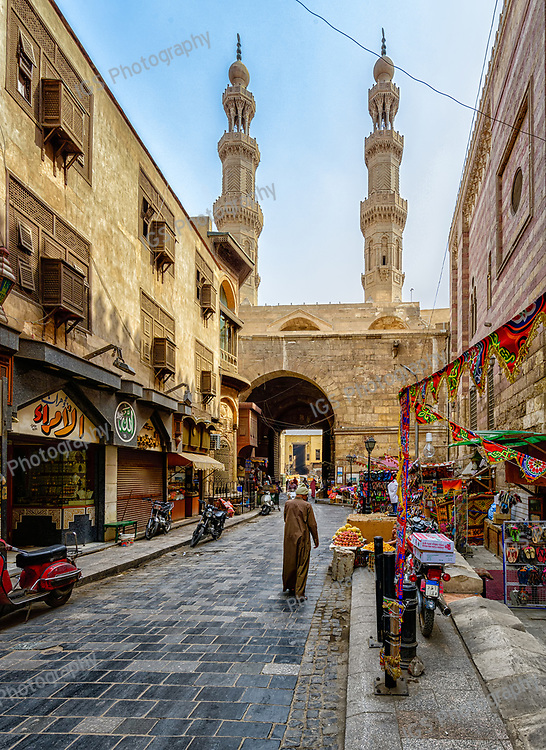 Bab Zuweila is one of the three remaining gates in the wall of the old city of Cairo. It is the last remaining Southern Gate from the walls of Fatimid Cairo in the 11th and 12th Centuries