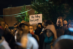 October 20, 2016 - Chicago, United States - Over 200 people gathered outside Chicago Police Headquarters to commemorate the life of 17-year-old police shooting victim Laquan McDonald on the two year anniversary of his death on October 20, 2016. (Credit Image: © Max Herman/NurPhoto via ZUMA Press)
