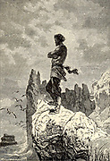 The Captain climbed a rock From the Book Twenty thousand leagues under the seas, or, The marvelous and exciting adventures of Pierre Aronnax, Conseil his servant, and Ned Land, a Canadian harpooner by Verne, Jules, 1828-1905 Published in Boston by J.R. Osgood in 1875