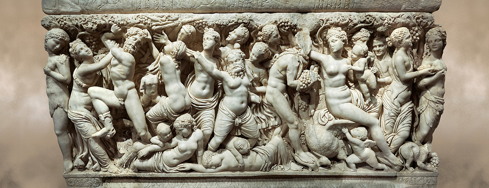 Roman relief sculpted sarcophagus depicting a scene with Dionysus made in a Greek Attica workshop, 3rd century AD, Perge Inv 1.35.99. Antalya Archaeology Museum, Turkey..<br /> <br /> If you prefer to buy from our ALAMY STOCK LIBRARY page at https://www.alamy.com/portfolio/paul-williams-funkystock/greco-roman-sculptures.html . Type -    Antalya    - into LOWER SEARCH WITHIN GALLERY box - Refine search by adding a subject, place, background colour, etc.<br /> <br /> Visit our ROMAN WORLD PHOTO COLLECTIONS for more photos to download or buy as wall art prints https://funkystock.photoshelter.com/gallery-collection/The-Romans-Art-Artefacts-Antiquities-Historic-Sites-Pictures-Images/C0000r2uLJJo9_s0