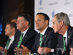 (left to right) Former Ireland captain Brian O'Driscoll, IRFU Chief Executive Philip Browne, Taoiseach, Leo Varadkar and Dick Spring Chairman, Ireland 2023 Oversight Board, during the 2023 Rugby World Cup host candidates presentations at the Royal Garden Hotel in London, where they are bidding to host the event against France and South Africa.