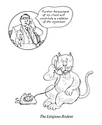 """The Litigious Rodent. (a Punch cartoon shows a rat's lawyer phoning a cat with: """"Further harassment of my client will constitute a violation of the injunction"""".)"""