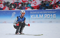 Hopp , BAD MITTERNDORF,AUSTRIA,17.JAN.16 - NORDIC SKIING, SKI JUMPING, SKI FLYING - FIS World Championships, Kulm, team, Image shows the rejoicing of Daniel Andre Tande (NOR).<br /> Norway only