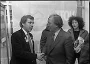 Opening of New Ogra Fianna Fail office on O'Connell St,Dublin.1982.30.01.1982.01.30.1982.30th January 1982..Image of Mr Haughey,Leader of Fianna Fail, as he is welcomed by Mr Cillian Brioscu,.Chairman,Cumann Sean Mhisteil,Dublin.