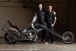 Yuichi Yoshizawa (L) and Aki Sakamoto with Aki's Hogkillers custom 1940 Harley-Davidson ULH Flathead in a heavily modified frame at the Handbuilt Show. Austin, TX. USA. Friday April 20, 2018. Photography ©2018 Michael Lichter.