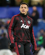 Manchester United Forward Alexis Sanchez warm up during the The FA Cup 5th round match between Chelsea and Manchester United at Stamford Bridge, London, England on 18 February 2019.
