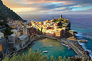 Photo of colorful fishing housesthe fishing port of Vernazza at sunrise, Cinque Terre National Park, Ligurian Riviera, Italy. A UNESCO World Heritage Site. .<br /> <br /> Visit our CINQUE TERRE PHOTO COLLECTIONS for more  photos  to download or buy as prints https://funkystock.photoshelter.com/gallery/Cinque-Terre-Pictures-Photos-of-Cinque-Terre-Italy/G0000gYEYY_aCqgI/C0000qxA2zGFjd_k<br /> If you prefer to buy from our ALAMY PHOTO LIBRARY  Collection visit : https://www.alamy.com/portfolio/paul-williams-funkystock/vernazza-cinque-terre.html .<br /> <br /> Visit our ITALY HISTORIC PLACES PHOTO COLLECTION for more   photos of Italy to download or buy as prints https://funkystock.photoshelter.com/gallery-collection/2b-Pictures-Images-of-Italy-Photos-of-Italian-Historic-Landmark-Sites/C0000qxA2zGFjd_k
