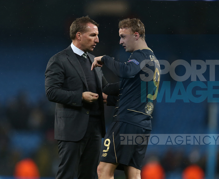 Brendan Rogers manager of Celtic and Leigh Griffiths of Celtic during the Champions League Group C match at the Etihad Stadium, Manchester. Picture date: December 6th, 2016. Pic Simon Bellis/Sportimage