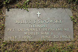 31 August 2017:   Veterans graves in Park Hill Cemetery in eastern McLean County.<br /> <br /> Julius J Sipowsky  Illinois  Private Ordnance Department  World War I  July 1896  June 20 1961