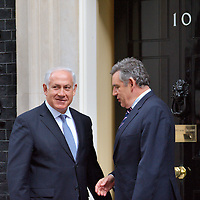London Aug 25 Visit of  Benjamin  Netanyahu israeli prime minister at n10 Downing Street. Heavy security before and during the visit with Palestinian protesters lightly clashing with Police outside Downing Street and forcing the Israeli Prime minister to use the back entrance to arrive at n10...Standard Licence feee's apply  to all image usage.Marco Secchi - Xianpix tel +44 (0) 845 050 6211 .e-mail ms@msecchi.com .http://www.marcosecchi.com