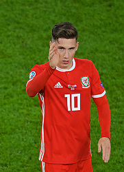 CARDIFF, WALES - Sunday, October 13, 2019: Wales Harry Wilson waves to the supporters after the UEFA Euro 2020 Qualifying Group E match between Wales and Croatia at the Cardiff City Stadium. The game ended in a 1-1 draw. (Pic by Paul Greenwood/Propaganda)