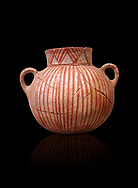 Very early Minoan round pot with white and red linear motifs,  vaulted tombs Lebena 3000-2100 BC BC, Heraklion Archaeological  Museum, black background.<br /> <br /> Made of grey clay these pots are the earliest found in the Lebena vaulted tombs .<br /> <br /> If you prefer to buy from our ALAMY PHOTO LIBRARY  Collection visit : https://www.alamy.com/portfolio/paul-williams-funkystock/minoan-art-artefacts.html . Type -   Heraklion   - into the LOWER SEARCH WITHIN GALLERY box. Refine search by adding background colour, place, museum etc<br /> <br /> Visit our MINOAN ART PHOTO COLLECTIONS for more photos to download  as wall art prints https://funkystock.photoshelter.com/gallery-collection/Ancient-Minoans-Art-Artefacts-Antiquities-Historic-Places-Pictures-Images-of/C0000ricT2SU_M9w