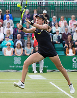 NOTTINGHAM, ENGLAND - JUNE 14: Johanna Konta of Great Britain in action against Heather Watson of Great Britain during Day Six of the Nature Valley Open at Nottingham Tennis Centre on June 14, 2018 in Nottingham, United Kingdom. (Photo by James Wilson/MB Media/Getty Images)