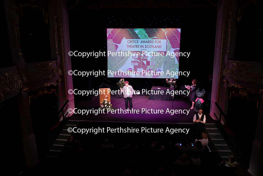 EMBARGOED UNTIL 18.00 (6PM) 10.06.18 <br />Critics' Awards for Theatre in Scotland at Perth Theatre…Joyce McMillan of The Scotsman on stage<br />for further info contact Lesley Booth at CATS on 07799 414474<br />Picture by Graeme Hart.<br />Copyright Perthshire Picture Agency<br />Tel: 01738 623350  Mobile: 07990 594431