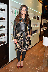 ROXIE NAFOUSI at a party in celebration of LCM 2015 and the launch of the Tateossian's first ever men's-only boutique at 55 Sloane Square, London on 10th January 2015.