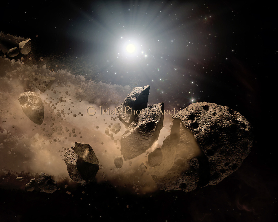 NASA's Spitzer Space Telescope set its infrared eyes upon the dusty remains of shredded asteroids around several dead stars. This artist's concept illustrates one such dead star, or 'white dwarf,' surrounded by the bits and pieces of a disintegrating asteroid. These observations help astronomers better understand what rocky planets are made of around other stars. Asteroids are leftover scraps of planetary material. They form early on in a star's history when planets are forming out of collisions between rocky bodies. When a star like our sun dies, shrinking down to a skeleton of its former self called a white dwarf, its asteroids get jostled about. If one of these asteroids gets too close to the white dwarf, the white dwarf's gravity will chew the asteroid up, leaving a cloud of dust.Spitzer's infrared detectors can see these dusty clouds and their various constituents. So far, the telescope has identified silicate minerals in the clouds polluting eight white dwarfs. Because silicates are common in our Earth's crust, the results suggest that planets similar to ours might be common around other stars.