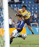 "12/08/04 - THESSALONIKI - GREECE -  - JAPAN OLYMPIC MENS FOOTBALL TEAM -  <br />First match Group B - JAPAN () Vs. PARAGUAY -<br />At the THESSALONIKI ""KAFTATZOGLIO STADIUM"".<br />Min.= '90  Paraguay player N* 9 BAREIRO FREDY last chance.<br />© Gabriel Piko / Piko-Press"