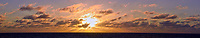 Panorama of the Morning Sun and Clouds over the Atlantic Ocean. Composite of 26 images taken with a Nikon 1 V3 camera and 70-300 mm VR lens