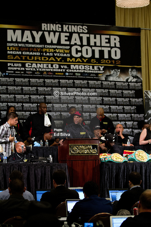 """LAS VEGAS - MAY 5: Floyd Mayweather Jr at the post-fight press conference after defeating Miguel Cotto in the Mayweather vs Cotto held at the MGM Grand Resort & Casino. Reports state that Cotto went straight to his locker room shortly after the decision that favored Mayweather was announced and did not attend the press conference, as he went to the hospital instead. In the conference which was a one man show for Mayweather, he stated """"This fight I thought: I'm not going to move, I could've made it easy. I was going for the KO. He was in tremendous shape."""" He also stated, """"I don't have to fight if I don't want to. But I have to take my hat off to my team."""" Las Vegas, NV. 5th May 2012., Nevada USA. All fees must be ageed prior to publication, Byline and/or web usage link must  read Eduardo E. Silva/SILVEX.PHOTOSHELTER.COM Failure to byline correctly will incur double the agreed fee."""
