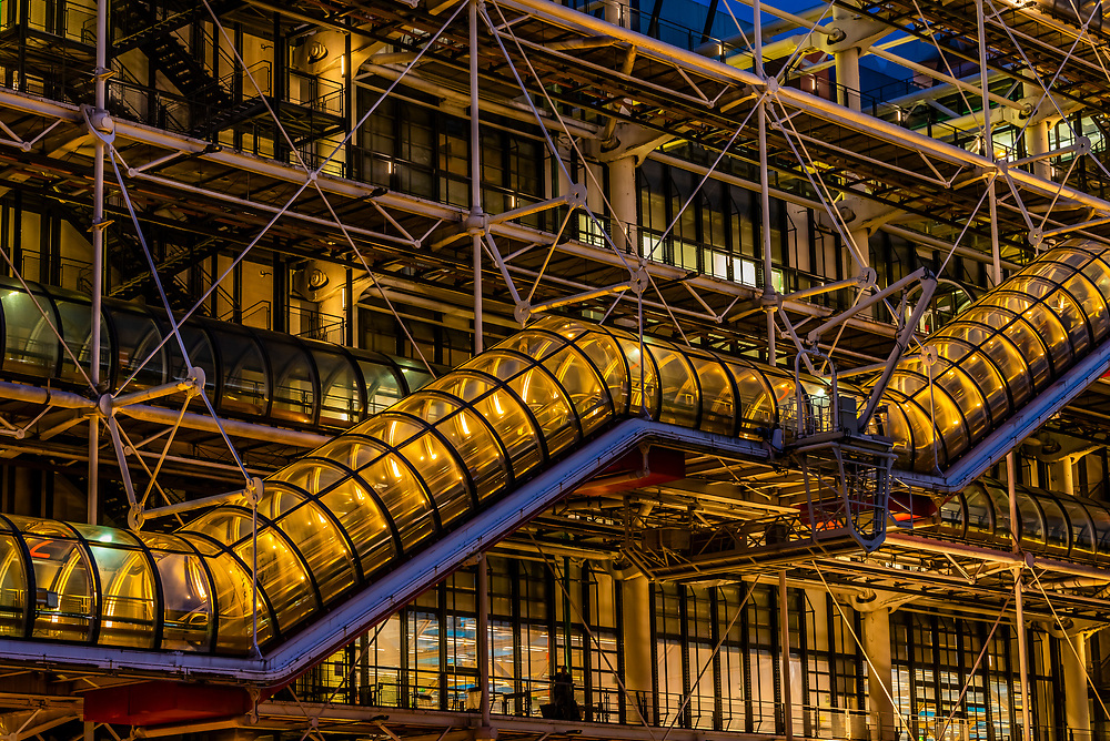 Centre Georges Pompidou, a multi-use complex designed by architects Richard Rogers and Renzo Piano, along with Gianfranco Franchini; Paris, France.