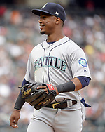 CHICAGO - JULY 16:  Juan Segura #2 of the Seattle Mariners looks on against the Chicago White Sox on July 16, 2017 at Guaranteed Rate Field in Chicago, Illinois.  (Photo by Ron Vesely/MLB Photos via Getty Images)  *** Local Caption *** Juan Segura