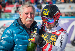 Marcel Hirscher and his father during the flower ceremony Men's Slalom race of FIS Alpine Ski World Cup 57th Vitranc Cup 2018, on March 4, 2018 in Kranjska Gora, Slovenia. Photo by Urban Meglič / Sportida
