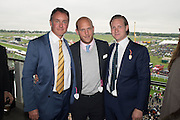 CHRISTIAN  HAMILTON; CARLO CARELLO; SAM SANGSTER; Sam Sangster, Carlo Carello and Christian Hamilton host a preview of Aspall's 1728 Fine Sparkling Cyder. Ladies Day, Epsom Downs.  A pop-up bar in No 1 car-park and lunch in a Box in the grandstand. . 3 June 2016
