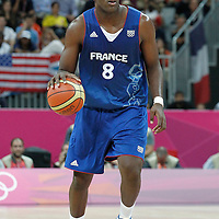 29 July 2012: Ali Traore of France is seen during the 98-71 Team USA victory over Team France, during the men's basketball preliminary, at the Basketball Arena, in London, Great Britain.