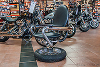 Chairs and table made from reused Harley Davidson motorcycle parts. Shown here at Bald Eagle Harley Davidson in Marquette, MI, USA.
