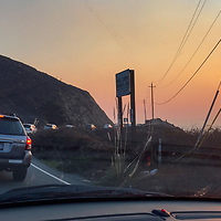 Traffic backs up due to an accident on California Highway One, near Montara & Devil's Slide.