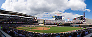 [Note:  This panorama was merged from several photos during post-processing.]  A panoramic view of Target FIeld during a game between the Texas Rangers and the Minnesota Twins in Minneapolis, Minnesota on June 11, 2011.