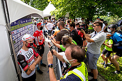 Diego ULISSI of UAE TEAM EMIRATES and Javier ROMO OLIVER of ASTANA - PREMIER TECH talking to journalists during the 4th Stage of 27th Tour of Slovenia 2021 cycling race between Ajdovscina and Nova Gorica (164,1 km), on June 12, 2021 in Slovenia. Photo by Matic Klansek Velej / Sportida