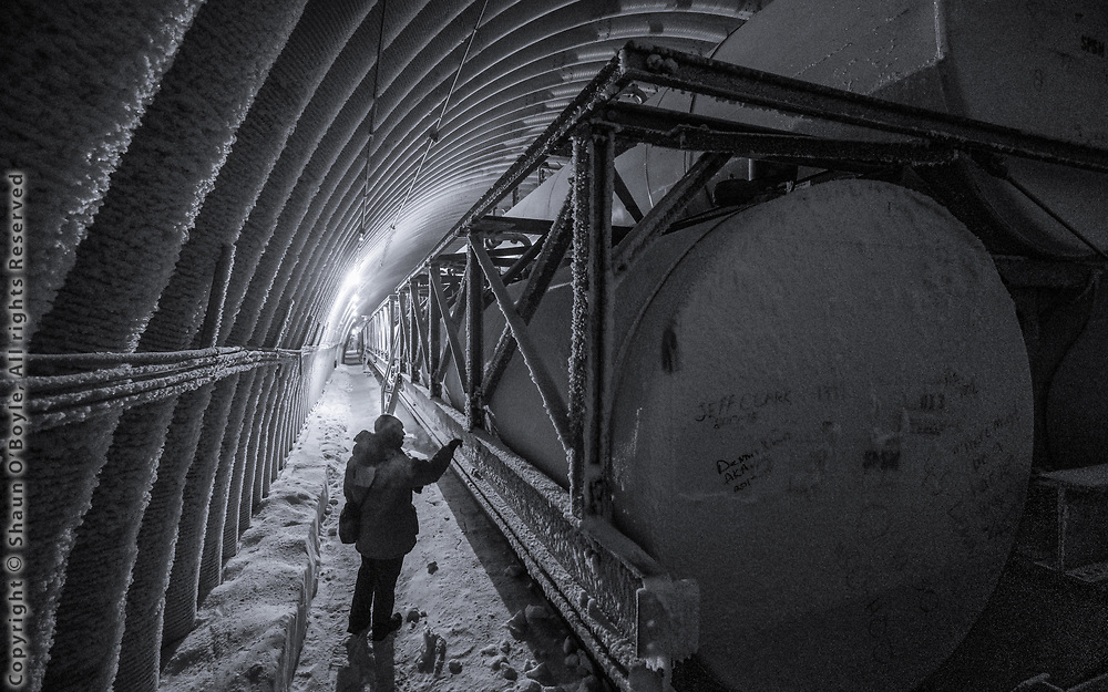 About 1/2 million gallons of fuel stored at the South Pole for use during the 8 month winter when the station is isolated from the rest of civalization
