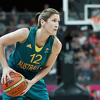 30 July 2012: Belinda Snell of Australia looks to pass the ball during the 74-70 Team France overtime victory over Team Australia, during the women's basketball preliminary, at the Basketball Arena, in London, Great Britain.