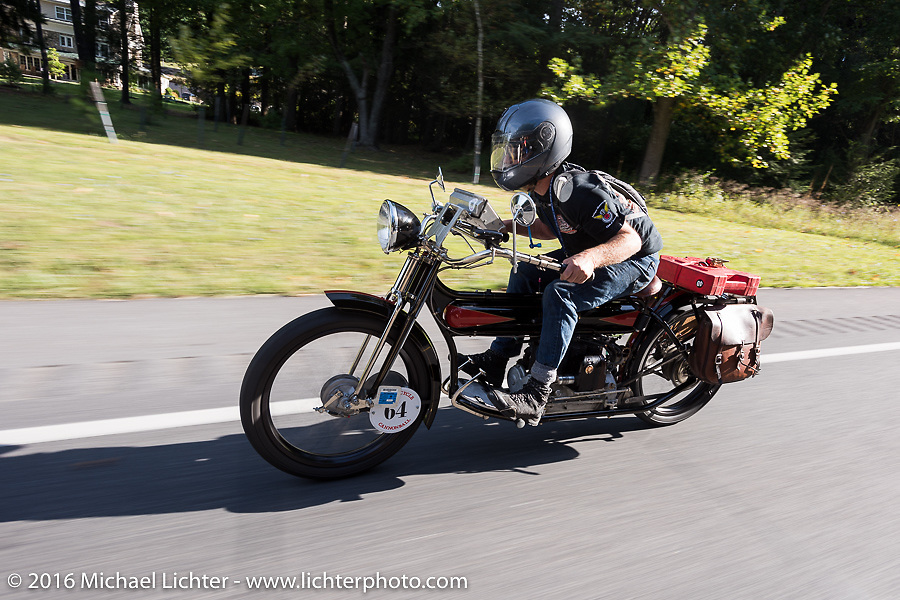 Steve Macdonald of New York on his 1912 Henderson during the Steve Macdonald of NY on his 1912 Henderson during the Motorcycle Cannonball Race of the Century. Stage-2 from York, PA to Morgantown, WV. USA. Sunday September 11, 2016. Photography ©2016 Michael Lichter.