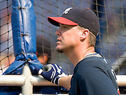 ATLANTA - JUNE 25:  Third baseman Chipper Jones #10 of the Atlanta Braves watches batting practice before the game against the New York Yankees at Turner Field on June 25, 2009 in Atlanta, Georgia.  The Yankees beat the Braves 11-7.  (Photo by Mike Zarrilli/Getty Images)