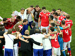 July 7, 2018 - Sochi, Russia - July 07, 2018, Sochi, FIFA World Cup 2018, the playoff round. 1/4 finals of the World Cup. Football match Russia - Croatia at the stadium Fisht. Players of the national team Russia (Credit Image: © Russian Look via ZUMA Wire)