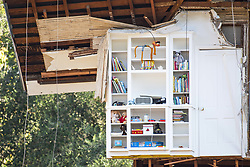 January 11, 2018 - Montecito, California, U.S. - A house that was completly destroyed in a mud slide that hit the area early Tuesday morning has a shelf almost perfectly intact. (Credit Image: © Erick Madrid via ZUMA Wire)